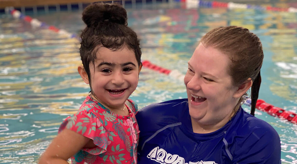girl with autism swimming